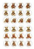 24Teddybären auf Wafer Reispapier Kuchen, Cupcakes, 4cm