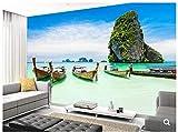 ZNBH Paysage Naturel Wallpaper, Bateau Longtale À La Plage, Photo 3D pour Le Papier Peint De Fond De Chambre À Coucher Restaurant Restaurant,-1 * 1M...
