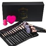 Make Up Pinsel Set 16pcs rosegoldenes Schminkpinsel Anjou Kosmetikpinsel Gesichtspinsel mit Make-up Schwämmchen, Silikon-Pinselreinigigungsmatte und eleganter PU-Ledertasch