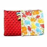 Rot Bunt Elefanten 75x100cm Minky Babydecke Kuscheldecke Krabbeldecke Decke Super weich und flauschig Handarbeit (75x100cm, Rot Bunt)