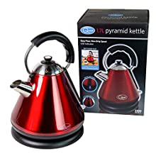 Quest 34520 Fast Boil Pyramid Shape Cordless Kettle, 1.7 Litre, 2200 W, Red