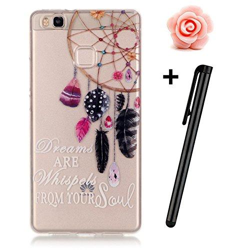 Preisvergleich Produktbild Huawei P9 Hülle,Huawei P9 Case,TOYYM TPU Hülle Schutzhülle Crystal Case Silikon Transparent Hülle Bunter Feder-Traumfänger Muster Anti-Kratz Zurück Case Cover für Huawei P9