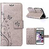 MOONCASE iPhone 6S Bookstyle Étui Fleur Housse en Cuir Case à rabat pour iPhone 6 / 6S 4.7-pouce Coque de protection Portefeuille TPU Case Gris