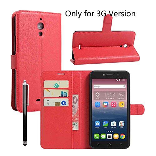 Owbb Folio Brieftasche Ledertasche für Alcatel Onetouch Pixi 4 (Nur für die 3G-Version) 6.0 Zoll Smartphone mit Ständerfunktion und card holder-Rot (Telefon-abdeckung Alcatel Für One Touch)