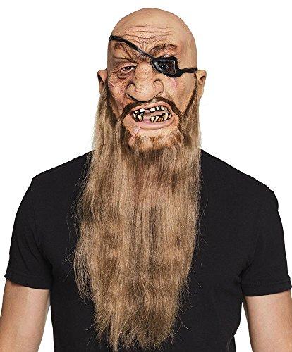 (shoperama Latex Maske Böser Pirat mit Bart und schiefen Zähnen Latexmaske Erwachsene Halloween Herren)