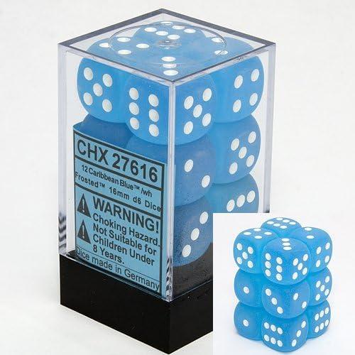 Chessex Dice Dice Dice d6 Sets: Frosted Caribbean Blue   White - 16mm Six Sided Die (12) Block of Dice by Chessex   Une Grande Variété De Modèles  2c4797