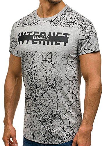 BOLF Herren T-Shirt Tee Kurzarm Rundhals Slim Fit Print Classic Party 3C3 Motiv Grau