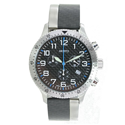 Aristo Reloj de hombre cronógrafo Carbono Acero Inoxidable Trophy Pasador 7h106b