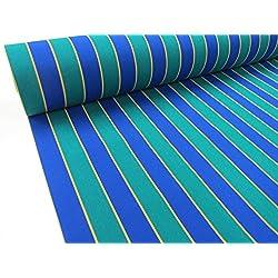 Metraje 0,50 mts. Tejido lona acrílica, Raya Azul-Verde, con ancho 3,20 mts.