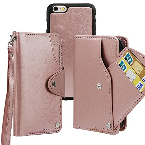 """xhorizon TM MLK [détachable] [séparable] 2 en 1 haut de gamme en cuir double-pli carte magnétique soutien le téléphone Compatible avec l'étui portefeuille avec cordon pour Apple iPhone 6 6S [4.7""""] Or Rose"""