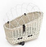 Tigana - Hundefahrradkorb für Gepäckträger aus Weide WEIß 56 x 36 cm mit Metallgitter Tierkorb Hinterradkorb Hundekorb für Fahrrad + Kissen (W-W)