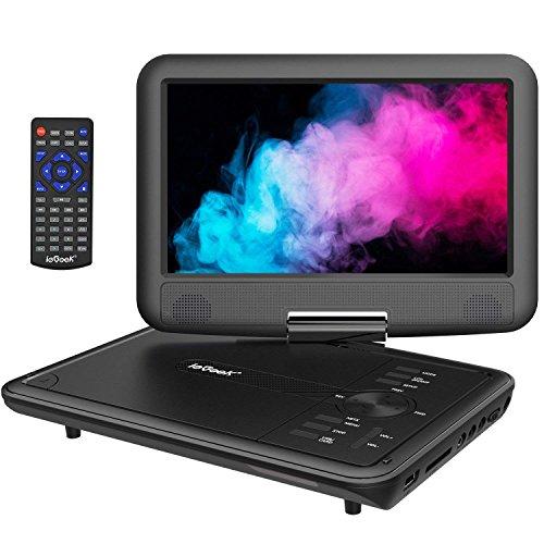 """ieGeek 11.5"""" Reproductor de DVD portátil con Pantalla giratoria DE 9.5"""", Batería Recargable de 5 Horas, Soporte USB/Tarjeta SD, Reproducción Directa de AVI/RMVB / MP3 / JPEG, Negro"""