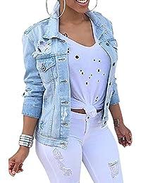 Mujer Chaquetas de Mezclilla Silm Fit Jeans Manga Larga Cárdigan Corta Abrigo Vaquera Azul Claro S