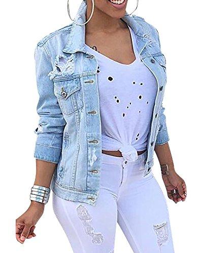 Damen Herbstmode Denim Jacket Jeansjacke Beiläufige Outwear Jeans Mantel Hellblau M