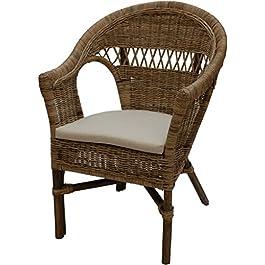 Fauteuil empilable en rotin avec coussin d'assise – En rotin véritable – Style maison de campagne – Gris naturel