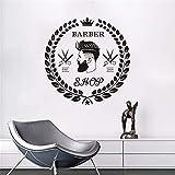 Vinyle Autocollant Barber Coupe De Barbe Visage Outil de Logo Logo Sticker Salon De Coiffure Murales Amovibles Coupe De Cheveux Fenêtre 57X59CM