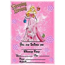 Sleeping Beauty Disney princesa fiesta de cumpleaños invitaciones–flores retrato diseño–accesorios de fiesta/invitaciones de accesorios (Pack de 12) WITHOUT Envelopes
