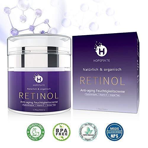 screme Creme, Anti-Aging & Anti Falten Creme von HOPEMATE für Gesicht & Augen, für Tag & Nacht, mit 2,5% Retinol + Hyaluronsäure + Vitamin E + Grüner Tee + Jojobaöl, 50ml ()