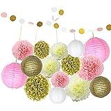 ofoen Pom Poms y linternas de papel, 16piezas Multi colores pañuelos de papel lunares papel guirnalda fiesta boda decoración de cumpleaños