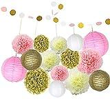 Ofoen 16 Stück Papier Blumen Ball Dekor Kit, Papier Laternen Dekorationen für Hochzeit oder Party ( Rosa,Gelb und Weiß )