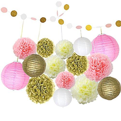 Ofoen 16 Stück Papier Blumen Ball Dekor Kit, Papier Laternen Dekorationen für Hochzeit oder Party ( Rosa,Gelb und Weiß ) - Ball Dekoration