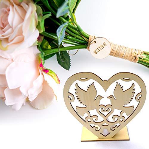 Gaddrt forniture di nozze ornamenti in legno a forma di cuore con luci a led festa di nozze 15 cm di lunghezza x 15 cm di larghezza x 5 cm di spessore comprese candele elettroniche (d)