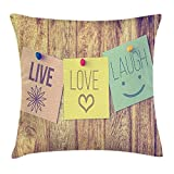 Yuerb Taies d'oreillers Quote Picture of Post-it Notes Live Love and Laugh on Wooden Wall Positive Message Print, Decorative Square Accent Pillow Case, 18 X 18 inches, Multicolor