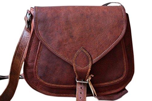 COOL STUFF Ledertasche Damen Handtasche Kuriertasche Umhängetasche Schulranzen Tragetasche 35.6x25.4x10.2cm - Braun, 36 x 25 x 10cm