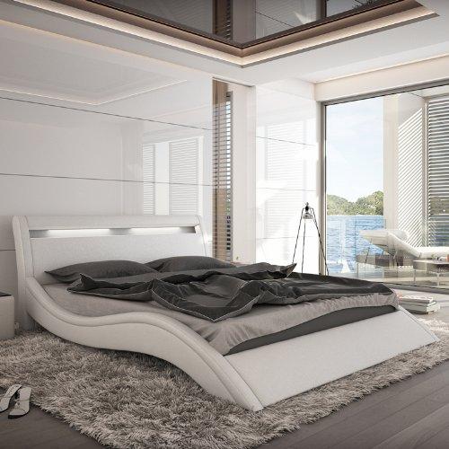 Innocent Polsterbett Kunstleder mit LED-Beleuchtung Modani weiß, 160x200 cm