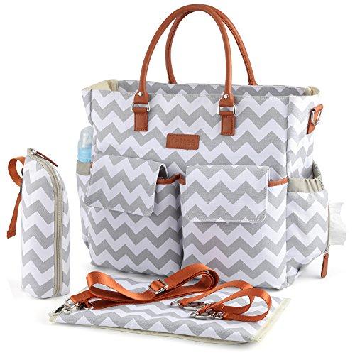 Kattee Multifunktionale Wickeltasche mit Wickelunterlage, wasserdichte Baby Windeltasche Mama Umhängetasche Handtasche für Flaschen, Windeln, Babykleidung
