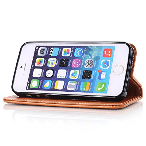 Custodia iPhone SE, ISAKEN Custodia iPhone 5S, Cover iPhone 5 Flip Case, Elegante borsa Custodia in Pelle Protettiva Portafoglio Case Cover per Apple iPhone 5 5S SE / con Supporto di Stand / Carte Slo Rose: marrone