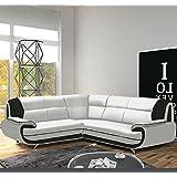 Muebles Bonitos – Sofá Luana New blanco con negro - chaise longue izquierda