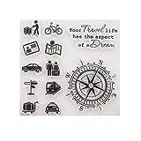 ECMQS Travel DIY Transparente Briefmarke, Silikon Stempel Set, Clear Stamps, Schneiden Schablonen, Bastelei Scrapbooking-Werkzeug