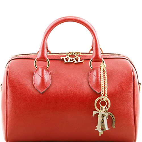 Tuscany Leather TL Keyluck - Sac Bauletto en cuir Saffiano Noir Sacs à main en cuir Rouge
