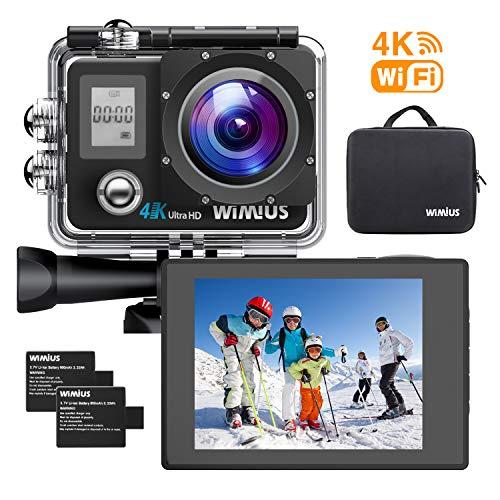 WiMiUS Action Cam 4K 16MP WiFi Subacquea 40M Telecamera d'azione Fotocamera Impermeabile con 2 batterie Ricaricabili e Kit di Accessori di Montaggio Q4 Nero