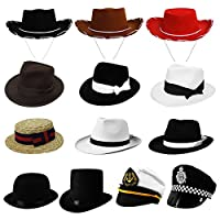 CHILDRENS FANCY DRESS PARTY HATS IN 13 DIFFERENT STYLES PERFECT ACCESSORY FOR ANY COSTUME