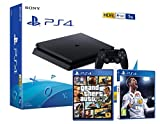 PS4 Slim 1TB Playstation 4 Pack 2 giochi. FIFA 18 + GTA V