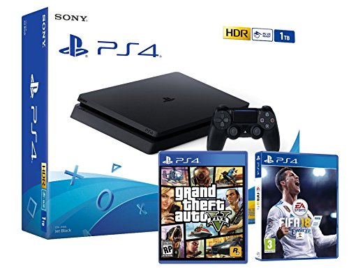 PS4 Slim 1To Noir Playstation 4 Pack 2 Jeux! FIFA 18 + GTA V
