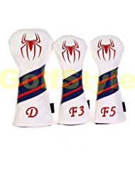 tourgolf 3 pcs silicona Spiderman impermeable PU Golf conductor 3/5 # maderas fairway cabeza cubierta, rojo