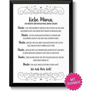 Danke Mama Geschenke Bild mit Rahmen Geschenkidee zum Muttertag Geburtstag Muttertagsgeschenk für Frauen Mamas Mutti Mutter Mum Eltern Danksagung