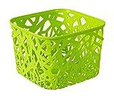 #3: 1 Piece Premium Quality plastic Square Tapered hollow basket mesh fashion Storage box / organizer / bin / Basket for Kitchen, Utility, Living room, kids room, Bedroom or Bathroom or office basket storage (Multicolor, Color sent at random, 19.5 x 19.5 x 14.5 cm)