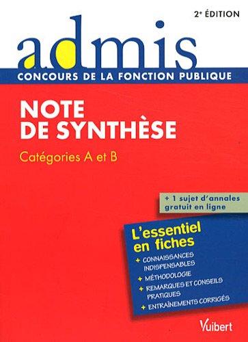 Note de synthèse : Catégories A et B