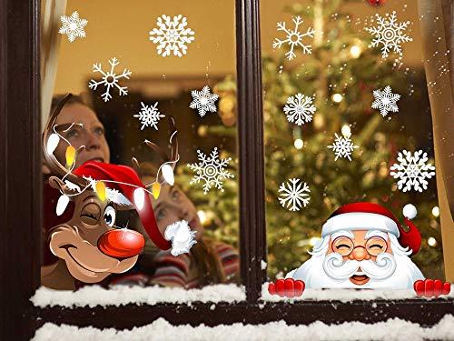 heekpek Weihnachts Dekoration Aufkleber 42 Schneeflocken Winter Weihnachten Fenster Dekoration Trockene Wand Glas Spiegel Fenster Santa Claus und Elch Klettern Fenster Aufkleber - Santa-fenster