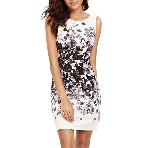 Vovotrade Frauen Tight Sleeveless Rundhals Blumenmuster Gedruckt Casual Kurzes Minikleid (Size:M, Weiß) (Klein-cotton Calvin Tunika)