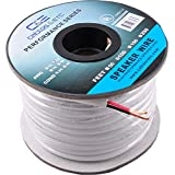 C&E Series 14 Gauge 2-Conductor 99.9% Oxygen Free Copper Speaker Wire Cable with White PVC Jacket & Polarity Stripe (100 Feet / 30 Meters) (for in-Wall Installation)