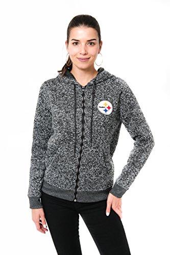 ICER Brands NFL Damen Kapuzenpullover, mit durchgehendem Reißverschluss, Marl Strickjacke, Teamfarbe, Damen, Full Zip Hoodie Sweatshirt Marl Knit Jacket, Team Color, OXM/Gray, Small - Hooded Zip Vorne Pullover Strickjacke