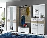 5-tlg. Garderoben-Set in Silbereiche Nachbildung mit Fronten in weiß-Struktur und Absetzungen in Silbereiche, Maße: B/H/T ca. 252/200/40 cm
