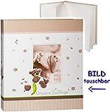 XL - großes Fotoalbum -  Unsere Zwillinge  __ süßer Teddy Bär & Babyfüße __ mit austauschbaren Vorderbild - Gebunden zum Einkleben & Eintragen - blanko weiß..