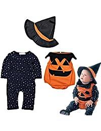 ARAUS Disfraz Halloween Ropa Recién nacido Niños Calabaza Mono + Sombrero  de bruja 3piezas Conjunto Otoño a3cf70387d0d
