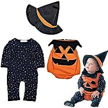 ARAUS Disfraz Halloween Ropa Recién nacido Niños Calabaza Mono + Sombrero de bruja 3piezas Conjunto Otoño